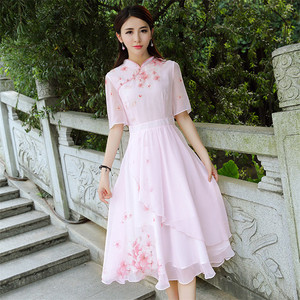 Image 1 - High Quality Explosions Leisure Print  Retro matching  Dresses Women  Summer Casual  Dress