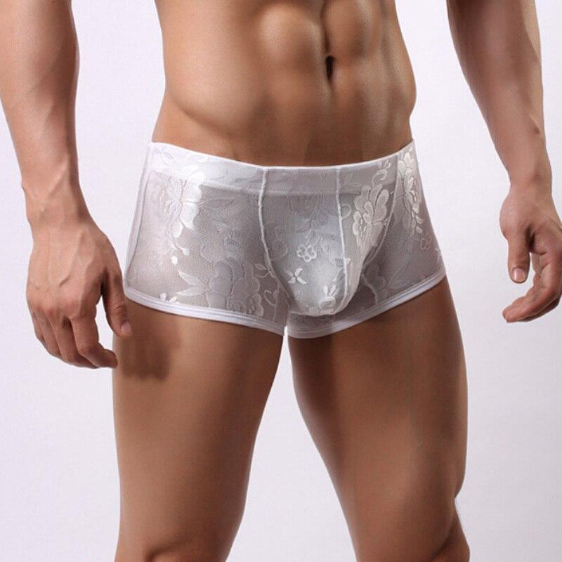 Men Sexy Lace underwearmid waist panties underpants transparent breathable boxer underwear printing hombre shorts 2Colors M-XL