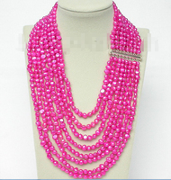 FREE shipping>>> >>>17 24 8row baroque dark pink pearls necklace 925