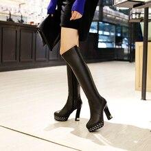 New winter warm high-heeled platform women's sexy rivets women boots knee high women boots club dancing boots