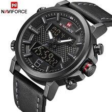 NAVIFORCE новые мужские модные спортивные часы мужские кожаные водонепроницаемые мужские кварцевые часы Дата светодиодный аналоговые часы Relogio Masculino