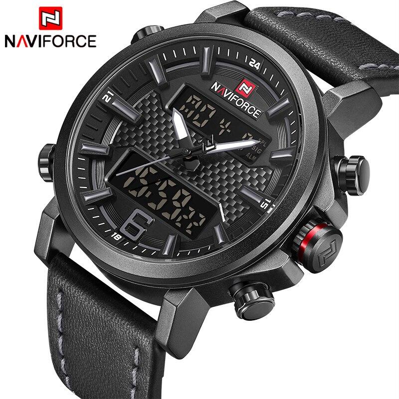 2018 NAVIFORCE nueva moda de los hombres del reloj del deporte de los hombres de cuero impermeable relojes de cuarzo hombre fecha LED analógico reloj Relogio Masculino