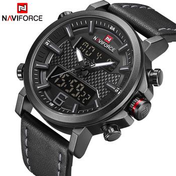 2019 NAVIFORCE nowa moda męska Sport Watch mężczyźni skórzane wodoodporne zegarki kwarcowe mężczyzna data analogowy zegar z podświetleniem LED Relogio Masculino tanie i dobre opinie 25cm Podwójny Wyświetlacz QUARTZ 3Bar Klamra STAINLESS STEEL 15mm Hardlex Kwarcowe Zegarki Na Rękę Skóra 46mm NF9135-BGrey