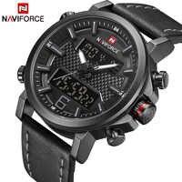 2019 NAVIFORCE nowa moda męska Sport Watch mężczyźni skórzane wodoodporne zegarki kwarcowe mężczyzna data analogowy zegar z podświetleniem led Relogio Masculino