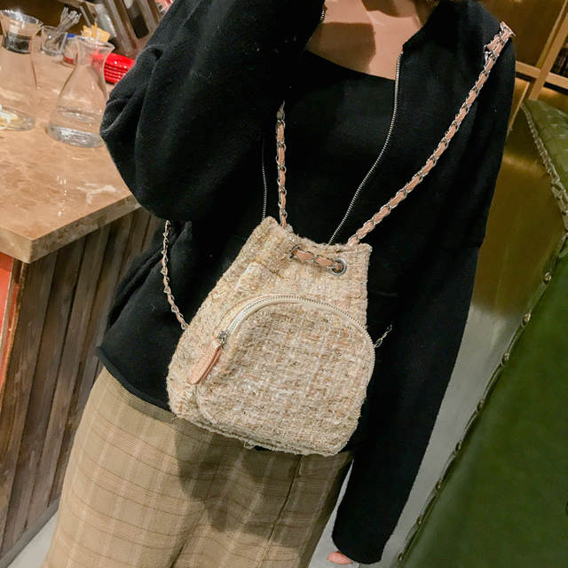 dc3c49c54daa placeholder LEFTSIDE Female Wool Backpack Purse Women Woolen Backpacks  Chains Back Pack For Teenage Girls Mini Vintage