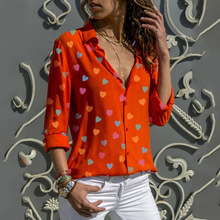 Ladies Fashion Love Printing Top Long Sleeve Buttons Female Sexy V-neck Shirt Hearts Print Casual Blouse Women 2019 New Blusas