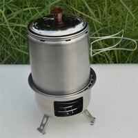 Montado Adaptador Horno Estufa de la Comida Campestre Al Aire Libre de múltiples funciones De Madera Suministros de Equipo de Campamento Portátil de Gas En Miniatura Venta Caliente