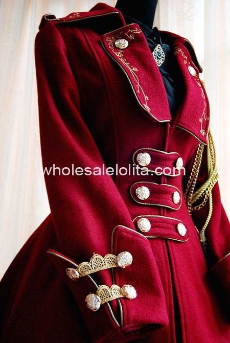 Revers Armée Cosplay Vin À Lolita Uniforme Lol Col D'hiver Style Rouge Manteau Jeu 6wwqItT