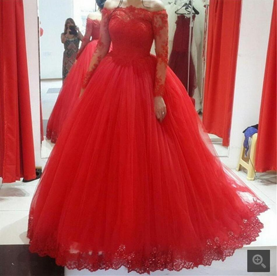 5903dca0db Hot sale Red Ball Gown Prom Dress Long Sleeve Elegant Boat Neck Appliqued  Tulle prom gowns best selling prom dresses on sale