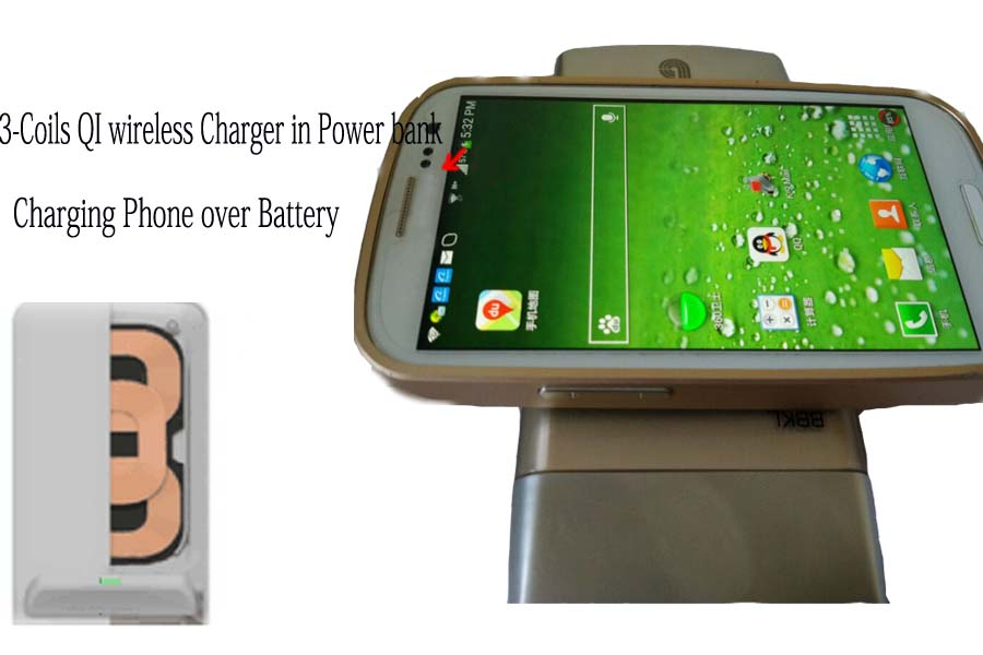 3-Coils QI Wireless Charger in Power Bank with QC 2.0 Quick charge for samsung tablet
