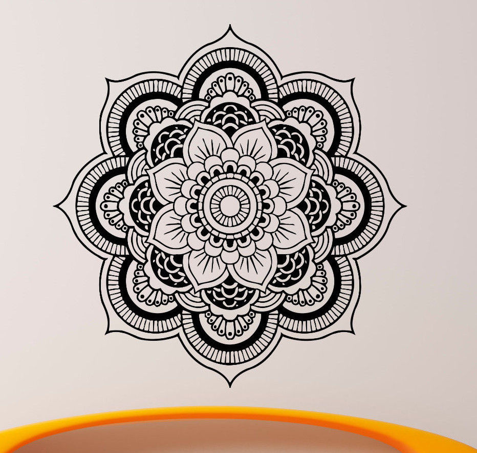 Mandala Wall Decal Vinyl Sticker Indian Om Lotus Flower Yoga Home Decor 56X56CM