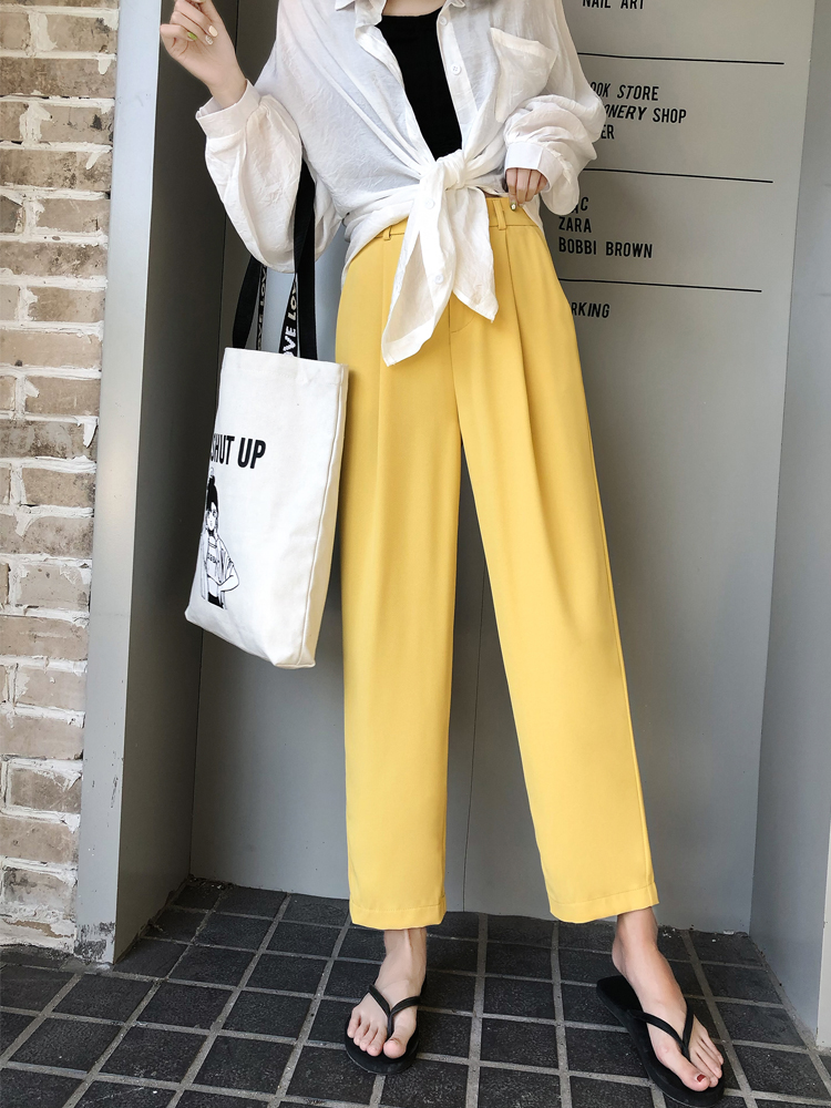 2019 High Waist   Wide     Leg     Pants   Loose Radish Trousers Female Summer Korean Ankle-Length Suit Straight   Pants