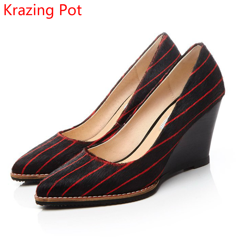 2017 Fashion Horsehair Shoes Woman Pointed Toe Slip on Women Pumps Casual Wedges Superstar Office Lady Classic Wedding Shoes L45 fashion sheep suede tassel casual shoes square toe slip on women pumps wedges superstar flowers preppy style increased shoes l01