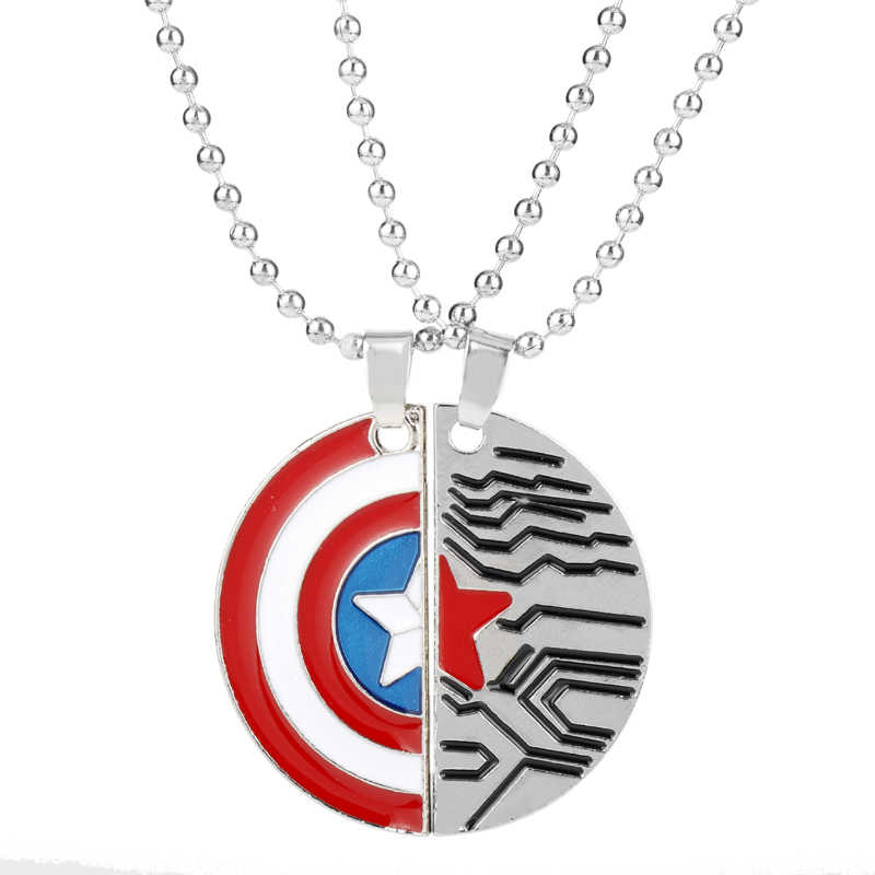 Marvel Comics Winter Soldier Captain America Necklace Shield Sign Logo Man's Pendant The Avengers Best Friend/Lover's Necklace-3