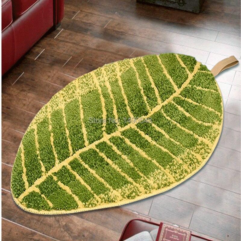Free Shipping Unique Green Leaf Mat Rug 40*60cm Anti Slip