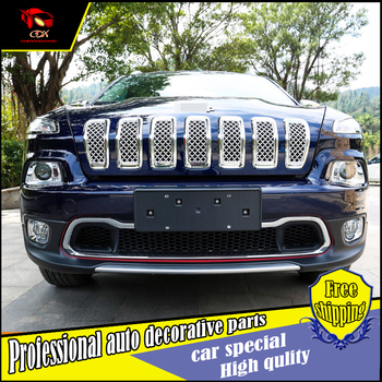 Car-styling car front below grille trim For Jeep Cherokee 2014-2016 ABS Chrome Front Center Grille cover trim car Decoration