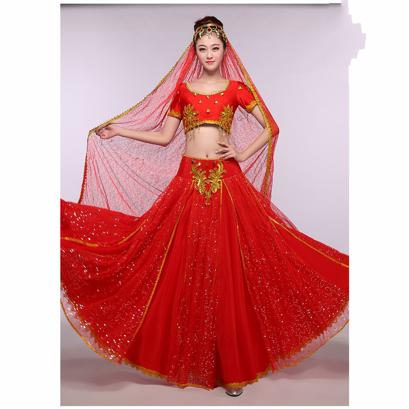 New Adult Minority Costume Xinjiang Uygur Dance Clothes India Belly Dance Wear Women s Big Skirt