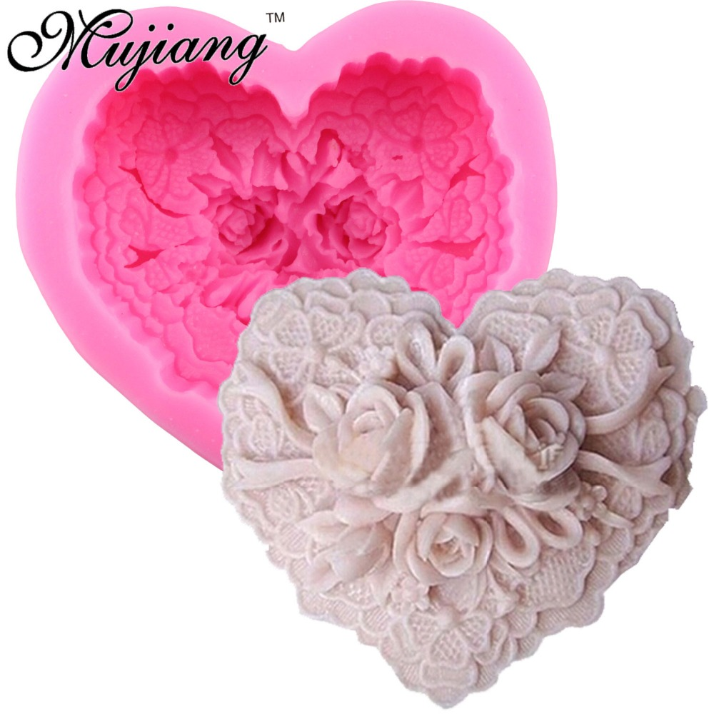 Heart Shape Flower Rose 3D Handmade Soap Molds Silicone Cake Fondant Chocolate Mold Candle Clay Moulds Kicchen Cake Baking Tools
