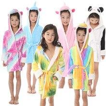New Girls Winter Cartoon Anime Pajamas Cosplay Rainbow Tenma Unicorn Panda Flannel Pyjama Sleepwear Kids Hooded Cute Bathrobes все цены