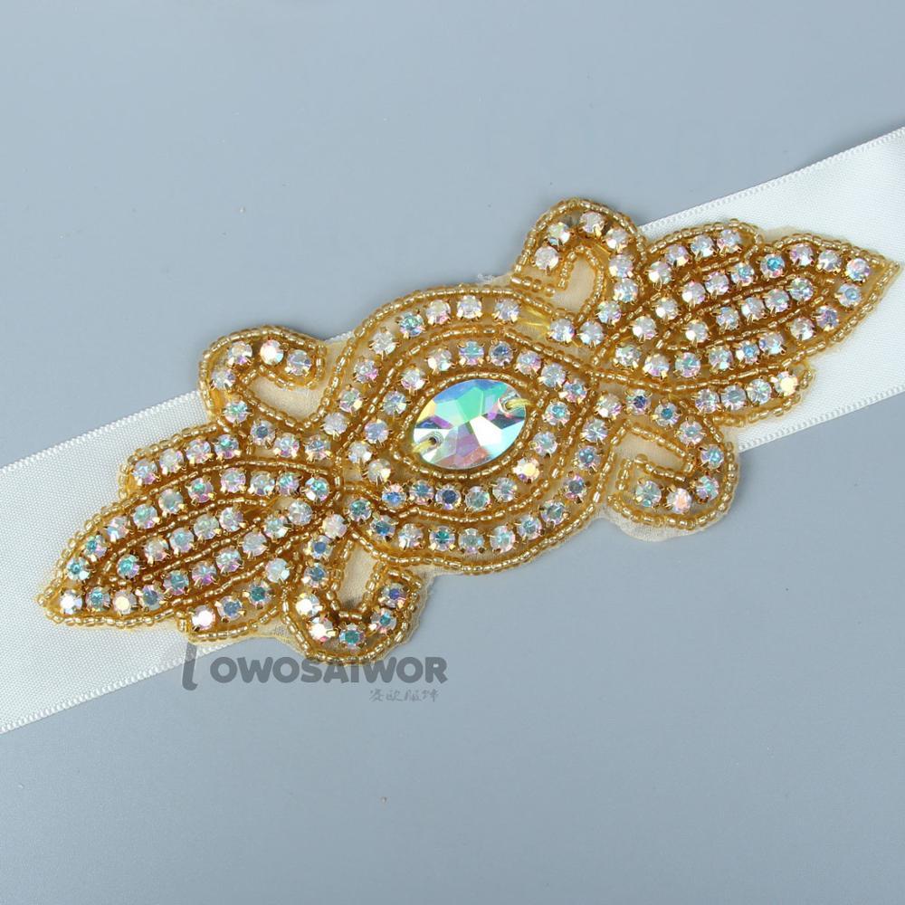 New Design Gold Wedding Crystal Rhinestone  Belt With Ribbons Handmade Bridal Sash Wedding Dress Ornament Belt