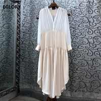 Latest Fashion Designer Dress 2019 Summer Long Dress Women V Neck Color Block Patchwork Long Sleeve Casual Loose Dress Plus Size