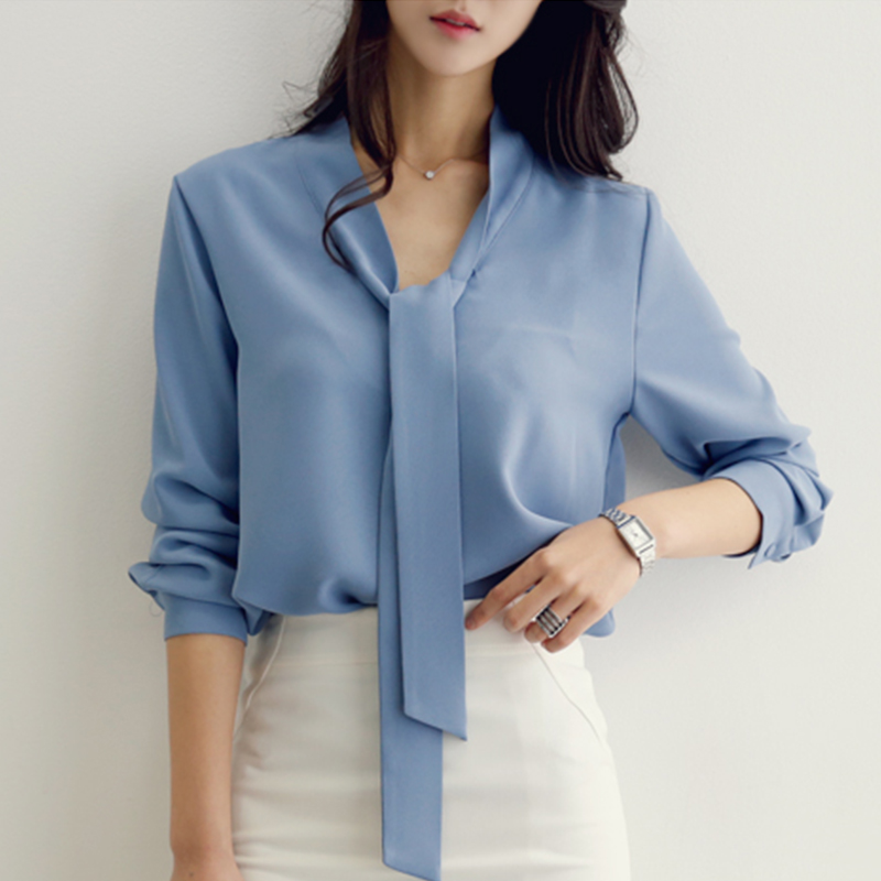 Office Ladies Long Sleeve Women Solid Color Shirt White Blue Elegant Bow Tie V Neck Formal Blouse Work Wear Business OL Tops