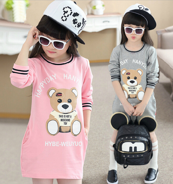 Fashion New 2016 children clothing baby girl clothes cartoon baby girl dress longsleeve bear party dress kids dresses for girls