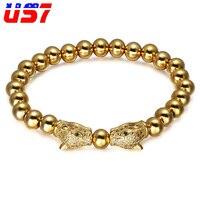 Us7 مايكرو تمهيد تشيكوسلوفاكيا مزدوجة الفهد رئيس سوار فضي ذهبي اللون الفولاذ الصلب مطرز أساور للرجال مجوهرات أساور