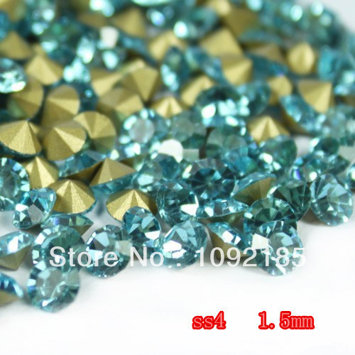 Ss4 14400 unidades 100 Gross Point volver Rhinestone Aquamarine Color Point volver Chaton envío gratis