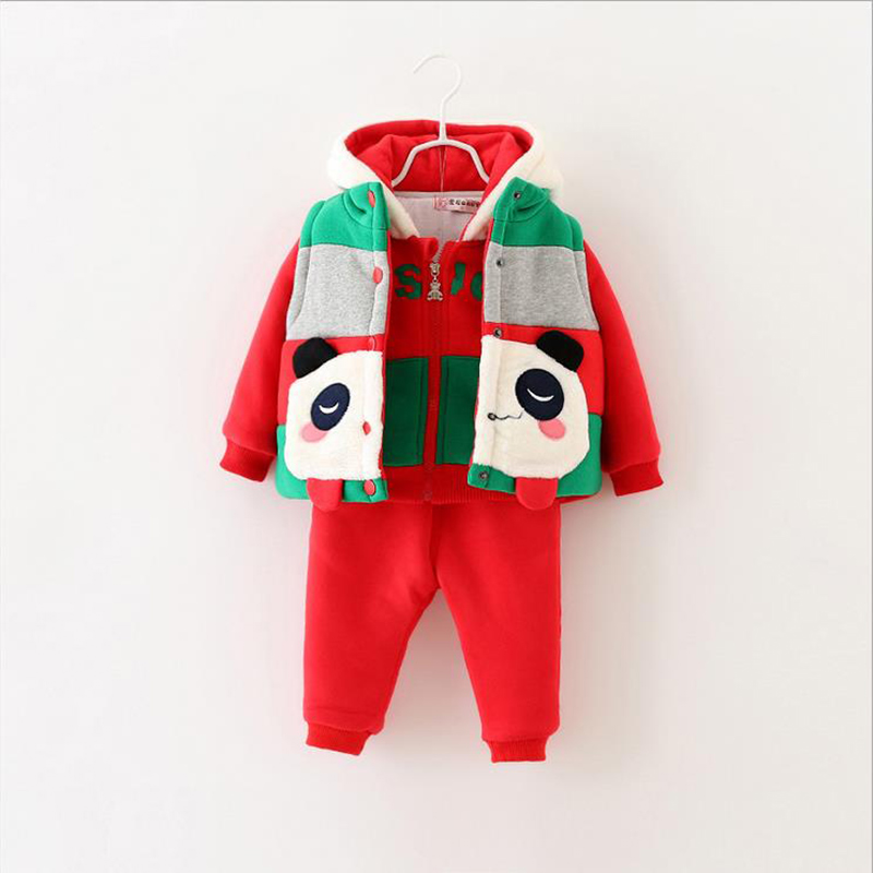 1-5 Years Old Kids Plus Velvet 3pcs Suits, Winter Clothing For Kids Fawn Childrens Sports Suit Boys And Girls Clothes