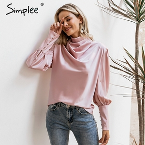 Image 3 - Simplee Vintage สีชมพูซาตินเสื้อผู้หญิงเต่าคอหรูหราเสื้อเสื้อแขนยาวแฟชั่น elegant party tops
