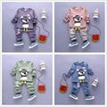 Mejor calidad sistema Del Paño Del Niño Oscuro Gafas de Manga Larga Impresa Tops Camisa con Corbata + Pantalones Rayados 2 Unids Trajes de Algodón 1-4