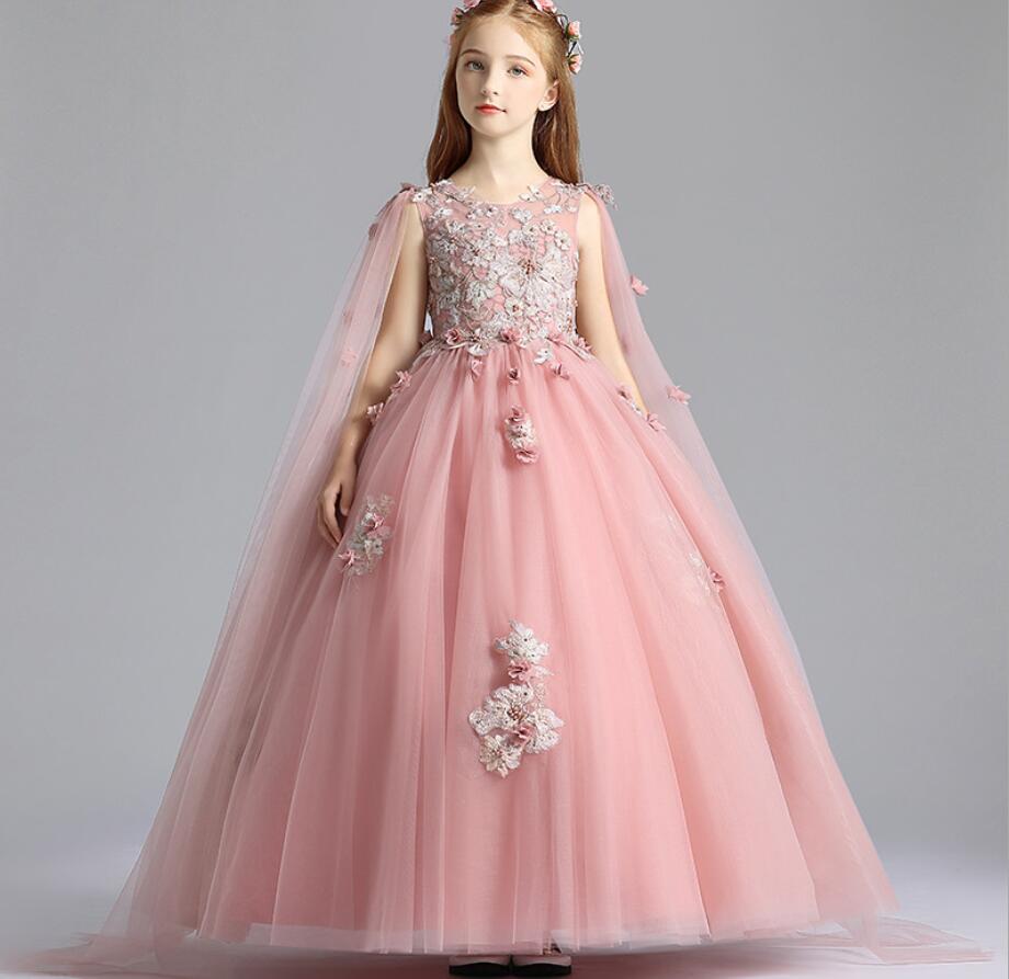 2019 robes de filles Ankel longueur robes de bal pour enfants robe de fête d'anniversaire pour les filles fantaisie fleur filles robes 3-12 ans HW2319
