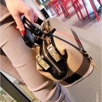 Ladies Hand Bag 2018 Women Canvas Leather Handbags Purses Plaid Doctor Bag High Quality Big Capacity Female Shoulder Bag Black