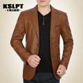 In the autumn of 2016 men's PU leather suit lapel business west clothing leather