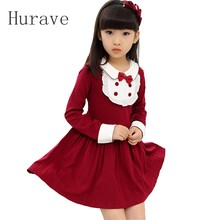 Hurave 2016 girls new spring autumn Long Sleeved sweet dress Turn Down collar patchwork children frilly