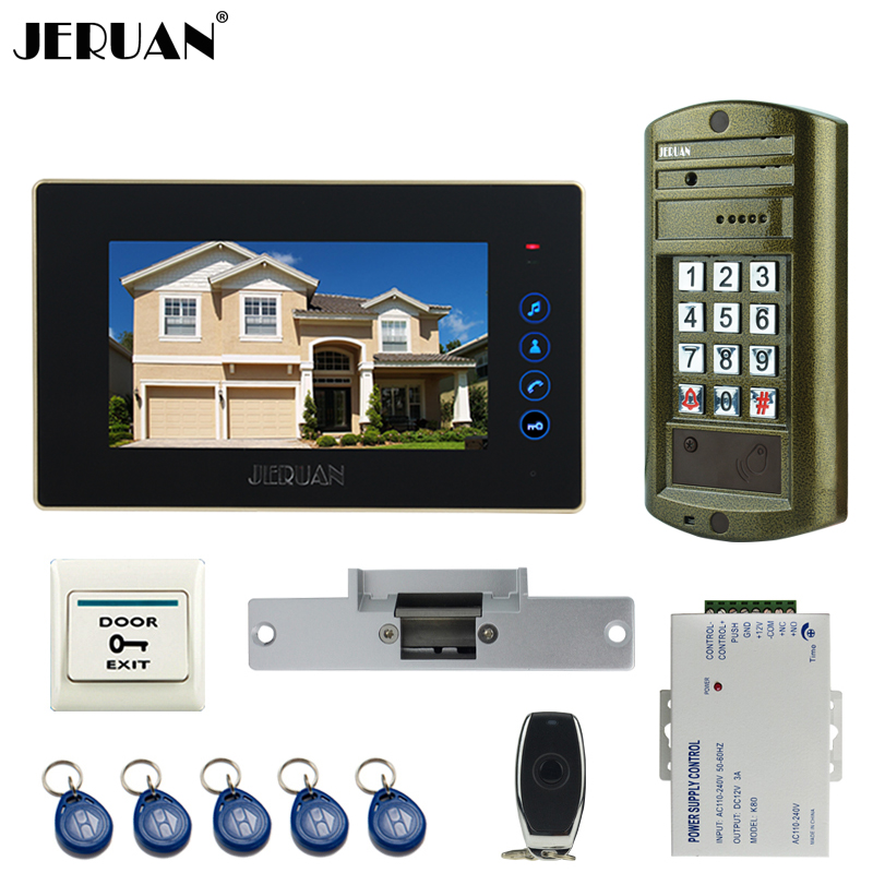 JERUAN Wired 7`` touch key Video Intercom Door Phone System kit Metal panel waterproof password keypad HD Mini Camera +Power jeruan wired 7 touch key video doorphone intercom system kit waterproof touch key password keypad camera 180kg magnetic lock