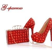 Сверкающая обувь под свадебное платье красного цвета со стразами обувь под вечернее платье обувь для вечеринок туфли на высоком каблуке дл