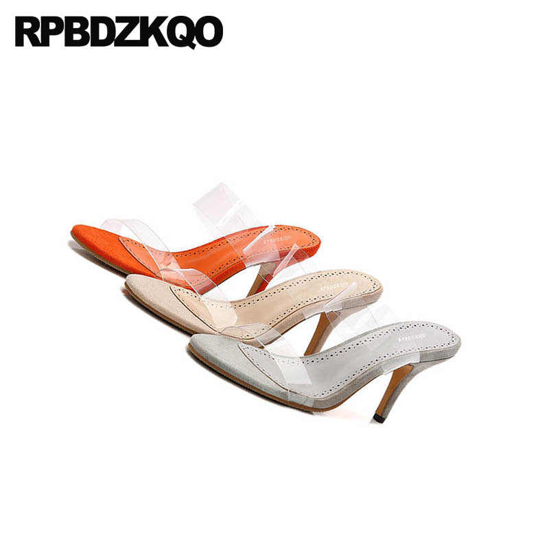 d0b12b10d63 Sandals Transparent Summer Slip On Stiletto Sexy Slippers Clear Strap Heels  Slides High Women Pumps Shoes Pvc Orange Open Toe