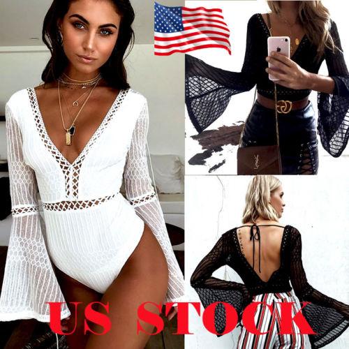 Fashion Hot Women V Neck Sexy Flare Sleeve Bodysuits Solid Backless Drawstring Bodysuits