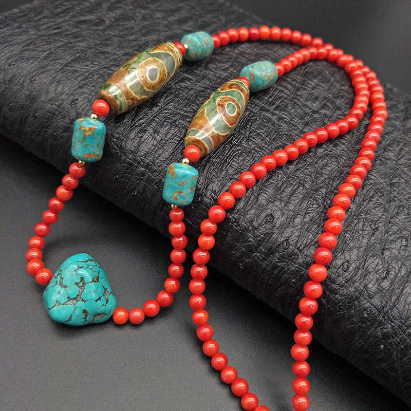 Shuangsheng 2019 new 5MM coral women necklace bohemian national style high jewelry Tibet beads natural stone necklace 65cm