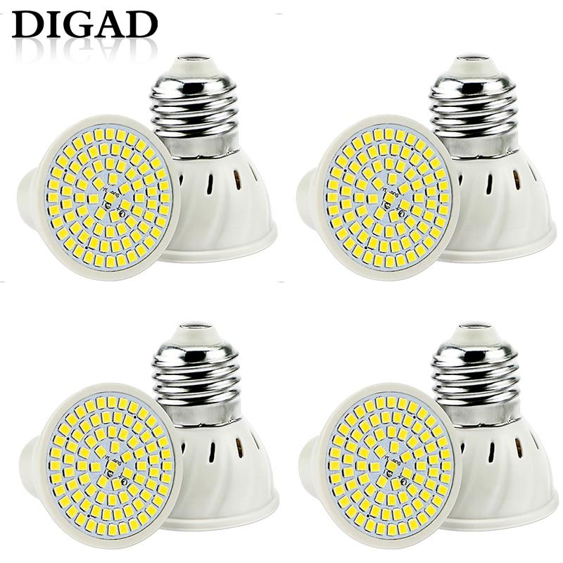 DIGAD 4pcs/set E27 LED Bulb GU10 Lamp 220V SMD 2835 MR16 Spotlight 48 60 80LEDs Warm White Cold Lights for Home