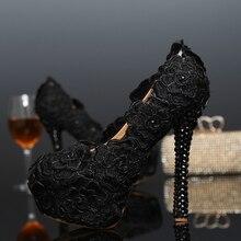 Popular Womens Rose Flower Wedding Shoes Black Lace Dress Shoes Black Lace High Heel Shoes Cocktail Dress Pumps Bridesmaid Shoes