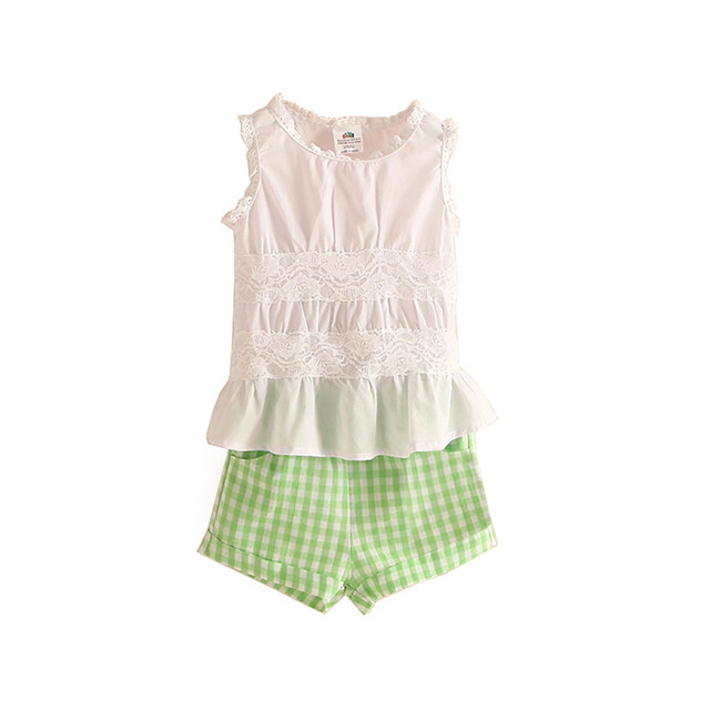 Девушки кружева топы и плед шорты элегантный наряд девочки одежду детская одежда девушки бутик одежды