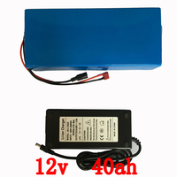 Free shipping 12v 40ah Lithium polymer battery rechargeable for laptop power bank 12v UPS cell electric bike +3A charger