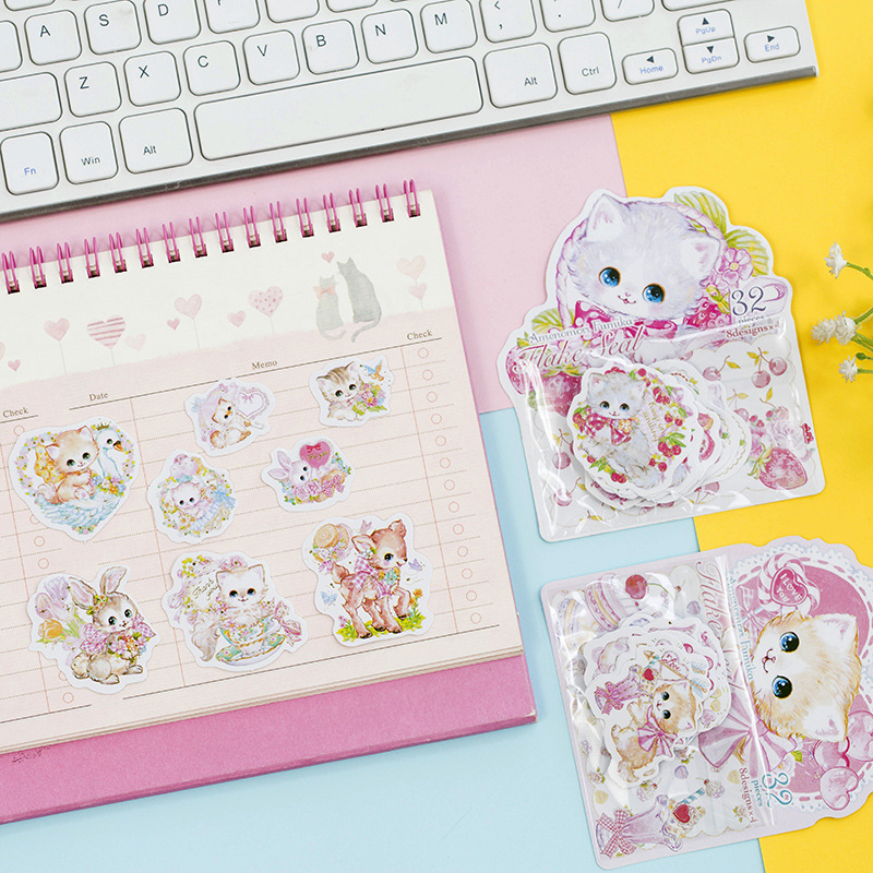 1 Pack Kawaii Princess Cat With Flowers Bronzing Sticke Decorative Stickers DIY Scrapbooking Diary Album Stick Label Party Decor