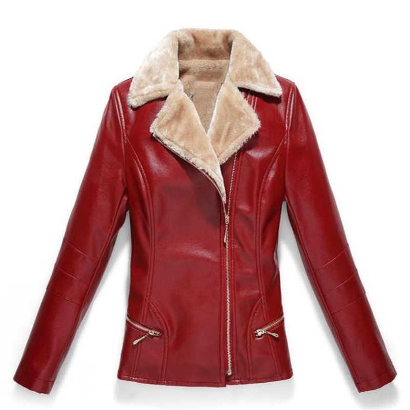 女性 Pu レザーオートバイのジャケットの冬暖かいプラスベルベットの上着 2018 新ファッション Pu レザージャケット女性 NO594