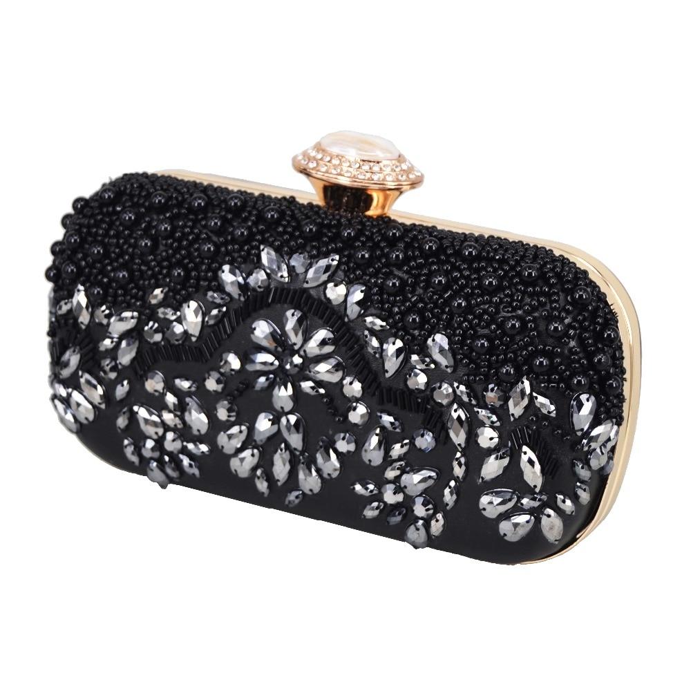 148dc29f63e Black Pu Beaded Purse Women Clutch Bag Party Banquet Evening Purse ...
