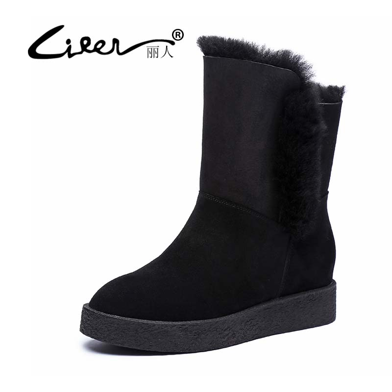 LIREN Classic Cowhide Leather Suede Winter Snow Boots for Women Real Fur Warm Lined Winter Shoes High Quality Gray Black 35-40 australia classic lady shoes high quality waterproof genuine leather snow boots fur winter boots warm classic women ug boots