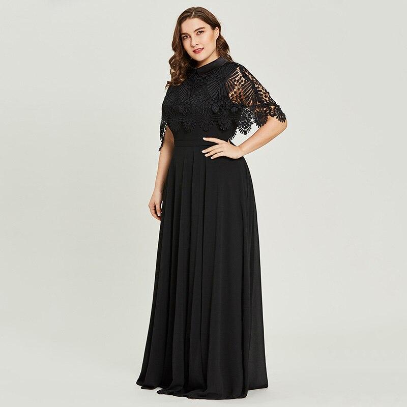 Dressv black scoop neck plus size evening dress lace elegant a line half sleeves wedding party formal dress evening dresses